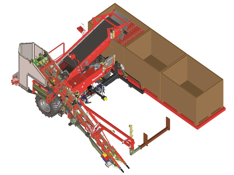 Mounted 1-row top lifting harvester with fixed box platform