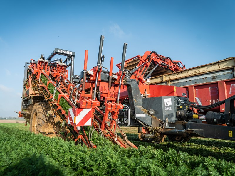 Trailed 2-row top lifting harvester with discharge elevator